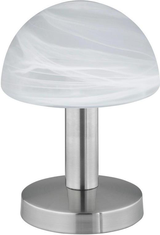 BORDSLAMPA - vit/nickelfärgad, Basics, metall/glas (21cm)