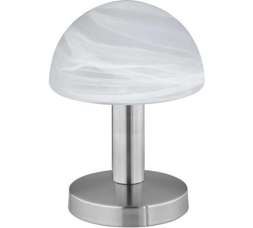 TISCHLEUCHTE - Weiß/Nickelfarben, Basics, Glas/Metall (21cm)