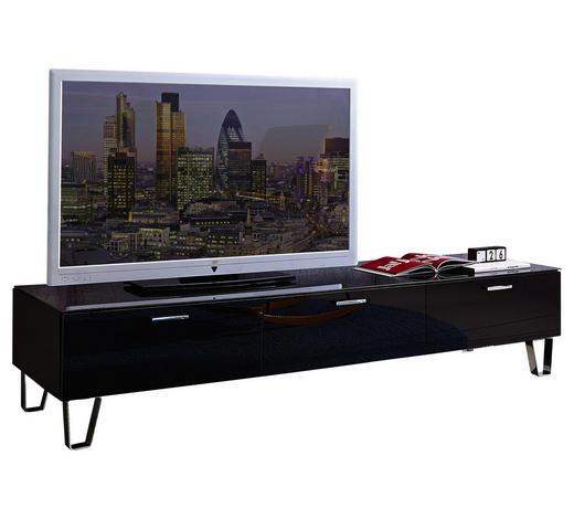 TV-ELEMENT 189/42/61 cm - Silberfarben/Schwarz, Design, Glas/Holz (189/42/61cm) - Leonardo