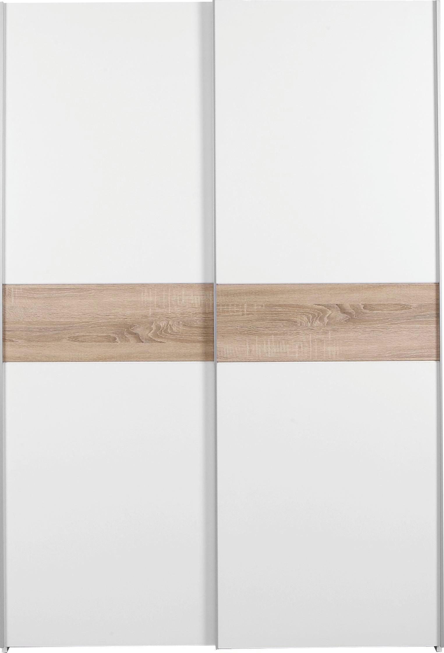 ORMAR S KLIZNIM VRATIMA - bijela/hrast Sonoma, Design, drvo/metal (125/195/62cm) - BOXXX