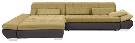 WOHNLANDSCHAFT in Textil Braun, Gelb  - Chromfarben/Gelb, Design, Kunststoff/Textil (204/341cm) - Xora