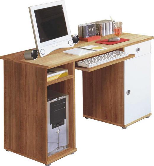 SCHREIBTISCH Sonoma Eiche, Weiß - Silberfarben/Weiß, Design, Holzwerkstoff/Kunststoff (120/74/60cm) - Carryhome