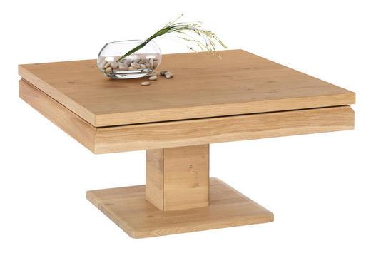 COUCHTISCH Wildeiche massiv quadratisch Eichefarben - Eichefarben, Design, Holz/Metall (90/47-83/90cm)