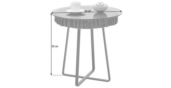 COUCHTISCH in Glas, Holz, Metall  52/52 cm - Eichefarben/Anthrazit, Design, Glas/Holz (52/52cm) - Valnatura