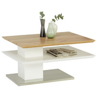 Couchtisch in Weiß, Eichefarben, Edelstahlfarben  - Edelstahlfarben/Eichefarben, Design, Holzwerkstoff/Metall (80/60/40cm) - Xora