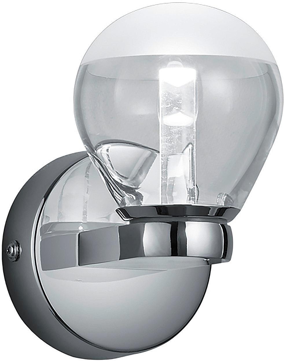 BADEZIMMER-WANDLEUCHTE - Chromfarben/Klar, Design, Kunststoff/Metall (14,5/9,0/12,5cm)