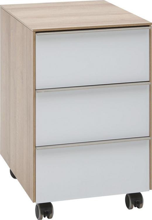 ROLLCONTAINER Eichefarben, Weiß - Eichefarben/Alufarben, Design, Glas/Kunststoff (39,8/60,9/50cm) - Voleo