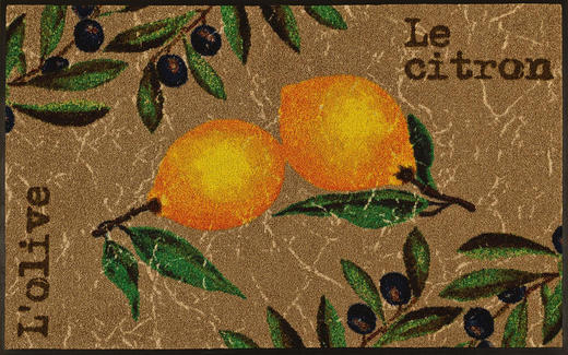 FUßMATTE 75/120 cm Zitronen Beige, Multicolor - Beige/Multicolor, Basics, Kunststoff/Textil (75/120cm) - Esposa