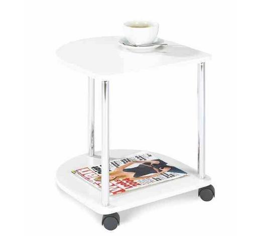 POMOĆNI STOLIĆ - bijela/boje kroma, Design, drvni materijal/metal (40/45/40cm) - Carryhome