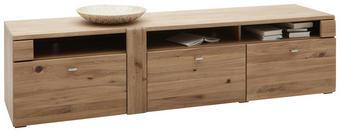 KOMODA LOWBOARD, barvy dubu - barvy dubu/barvy hliníku, Konvenční, kov/dřevo (191/48/51cm) - Voleo