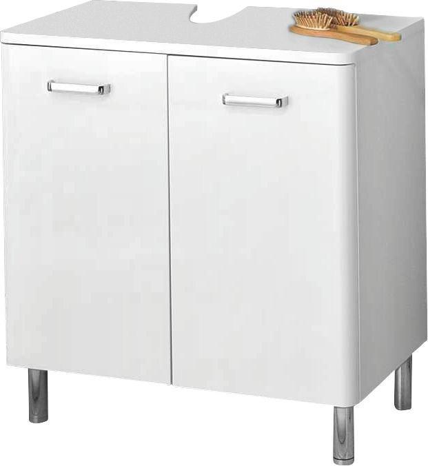 WASCHBECKENUNTERSCHRANK Weiß - Chromfarben/Weiß, KONVENTIONELL, Holzwerkstoff/Metall (60/53/33cm) - XORA