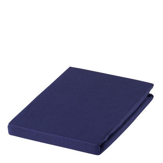 SPANNBETTTUCH Zwirn-Jersey Dunkelblau bügelfrei, für Wasserbetten geeignet - Dunkelblau, Basics, Textil (100/200cm) - ESTELLA