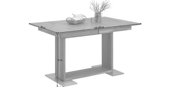 ESSTISCH in Holz 130(180)/90/75 cm   - Edelstahlfarben/Eichefarben, KONVENTIONELL, Holz (130(180)/90/75cm) - Voleo