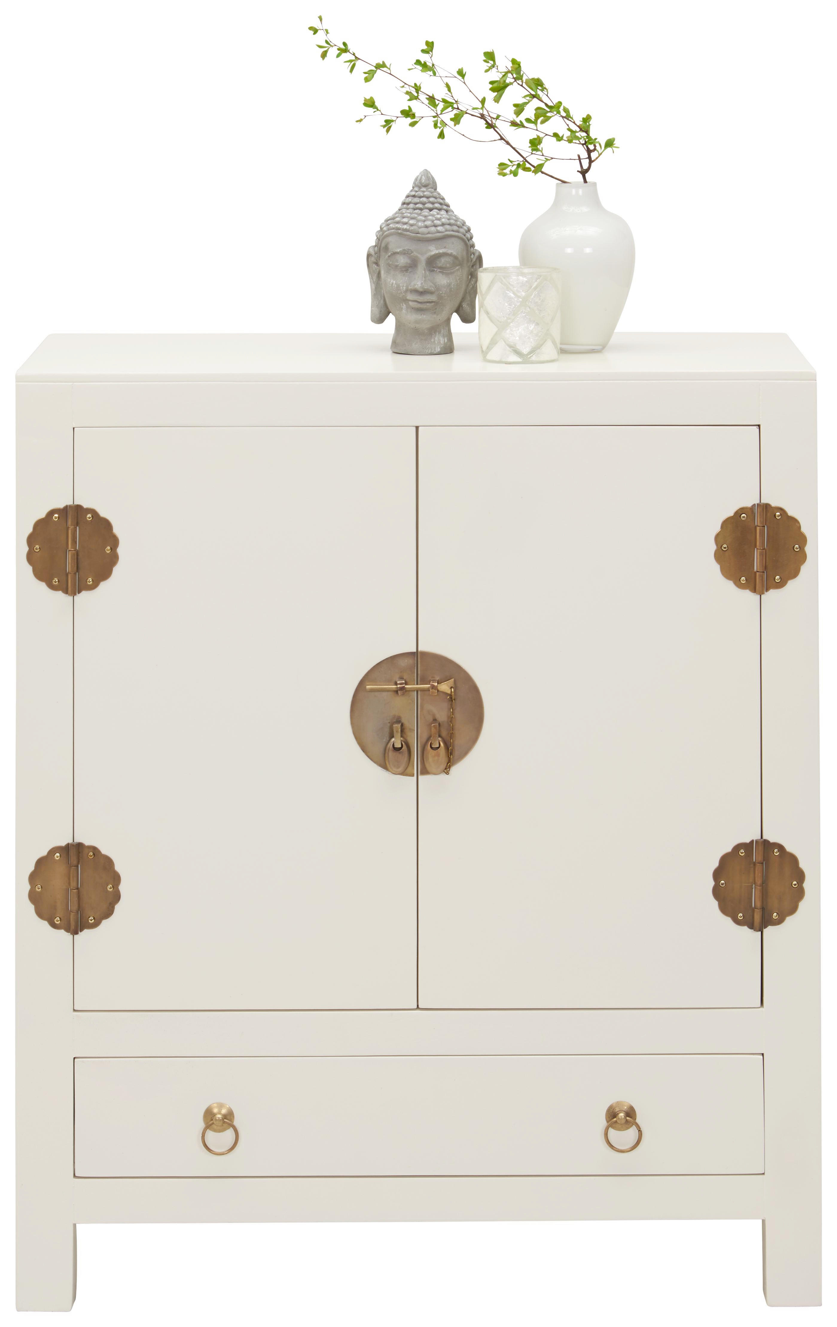 KOMODA - bela/barve medenine, Trend, kovina/leseni material (70/85/35cm) - LANDSCAPE
