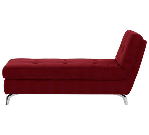RECAMIERE in Textil Rot - Chromfarben/Rot, Design, Textil/Metall (200/110/83cm) - Bali