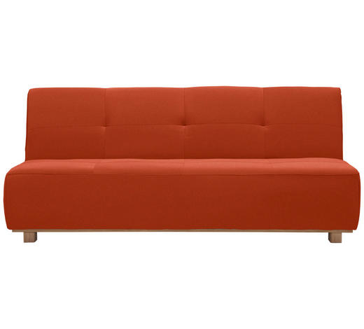 SCHLAFSOFA in Textil Orange, Rot  - Rot/Orange, Design, Holz/Textil (202/88/103cm) - Novel