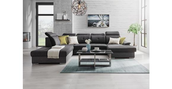 WOHNLANDSCHAFT in Textil Grau, Mintgrün  - Silberfarben/Grau, Design, Textil/Metall (263/365/187cm) - Cantus