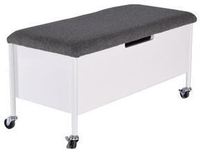 HALLBÄNK - vit/svart, Modern, metall/träbaserade material (90/45/40cm)