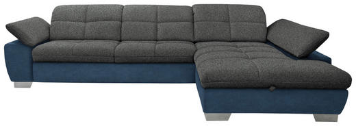WOHNLANDSCHAFT in Textil Blau, Grau - Chromfarben/Blau, Design, Textil/Metall (297/204cm) - Xora