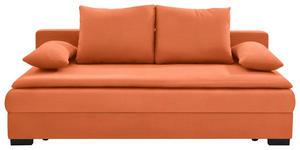 SCHLAFSOFA Orange - Schwarz/Orange, KONVENTIONELL, Kunststoff/Textil (207/74-94/90cm) - Venda