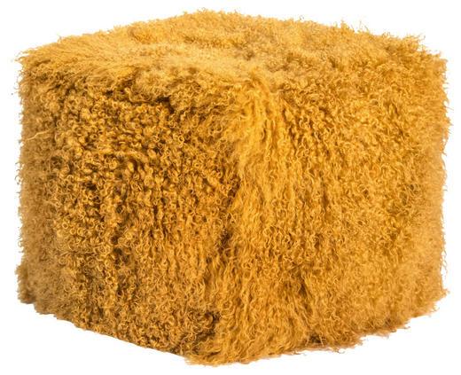 HOCKER in Fell, Textil Gelb - Gelb, Fell/Textil (60/40/60cm) - Ambia Home