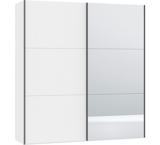 SCHWEBETÜRENSCHRANK in Weiß - Silberfarben/Weiß, Design, Glas/Holzwerkstoff (202,5/220/46cm) - Jutzler