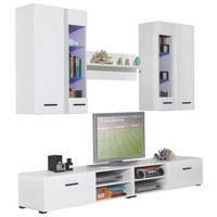 OBÝVACÍ STĚNA, bílá - bílá/černá, Design, dřevo/dřevěný materiál (240/190/45cm) - Carryhome