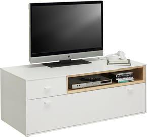 MEDIABÄNK - vit/ekfärgad, Design, träbaserade material/plast (130/48/50cm) - Hom`in