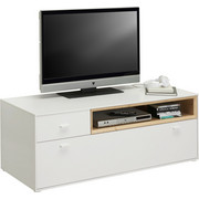 TV ELEMENT - bijela/boje hrasta, Design, drvni materijal/plastika (130/48/50cm) - Hom`in