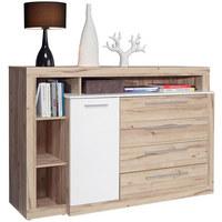 KOMODA SIDEBOARD - bílá/barvy dubu, Design, dřevěný materiál/umělá hmota (161/107/43cm) - Carryhome