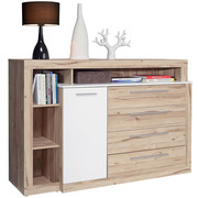 KOMODA SIDEBOARD - bílá/barvy dubu, Design, kompozitní dřevo/umělá hmota (161/107/43cm) - Carryhome