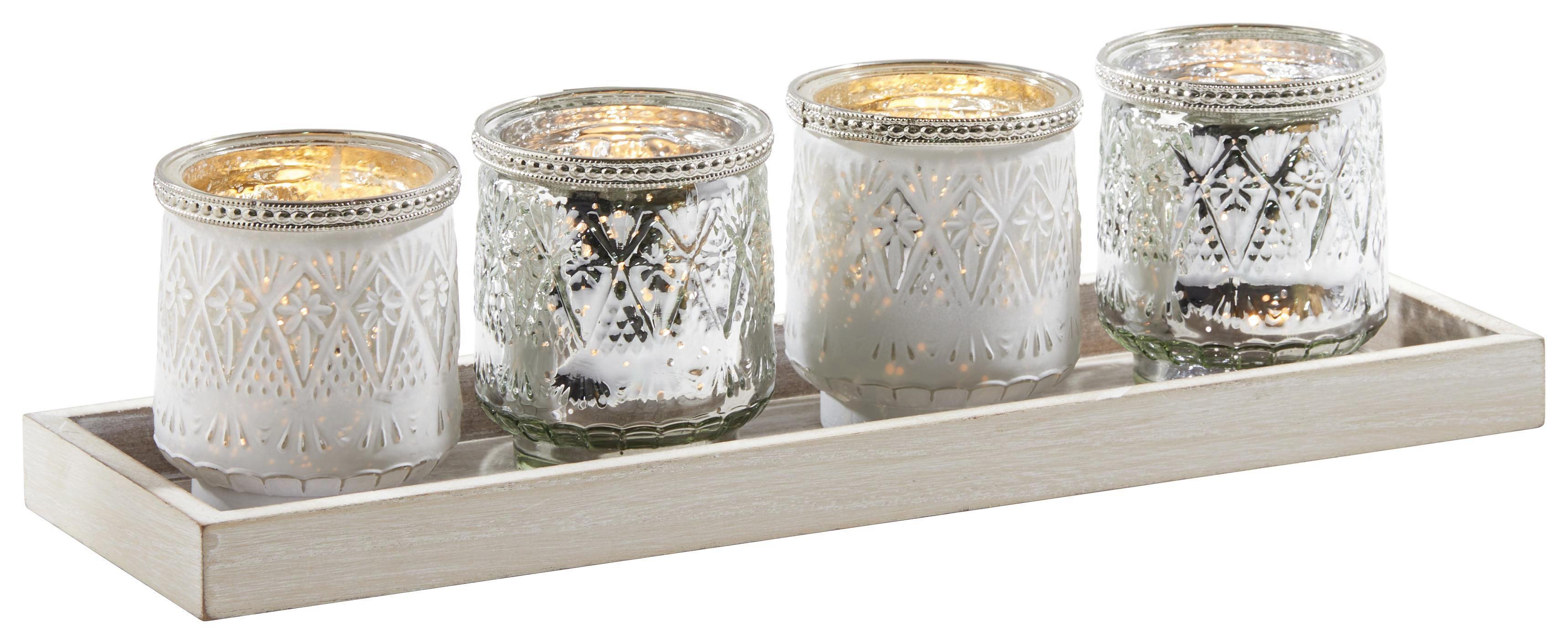 TEELICHTHALTER-SET 5-teilig - Goldfarben/Weiß, Basics, Glas (40/12/10cm) - AMBIA HOME