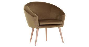 FOTELJ,  zlata tekstil - naravna/zlata, Design, tekstil/les (73/73/43/66cm) - Carryhome