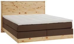 BOXSPRINGBETT 180/200 cm  INKL. Matratze, Topper - Dunkelbraun/Zirbelkieferfarben, KONVENTIONELL, Holz/Textil (180/200cm) - Valnatura
