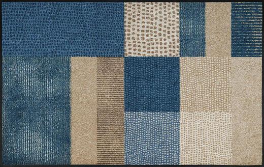 FUßMATTE 75/120 cm Graphik Beige, Blau - Blau/Beige, Kunststoff/Textil (75/120cm) - Esposa