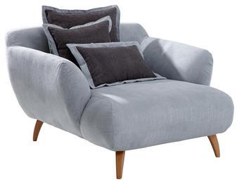 BIG SESSEL Chenille Dunkelgrau, Hellblau - Dunkelgrau/Naturfarben, Design, Holz/Textil (120/85/150cm) - Carryhome