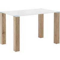 JÍDELNÍ STŮL, barvy dubu, bílá - bílá/barvy dubu, Konvenční, dřevěný materiál/sklo (120/75/75cm) - Cantus