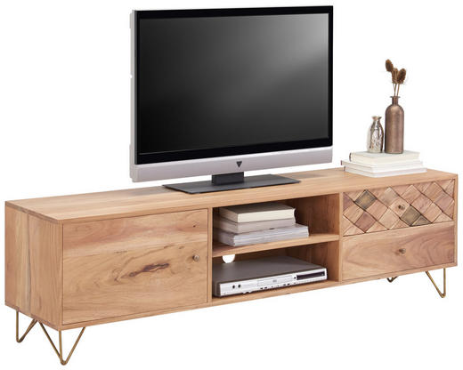 LOWBOARD Akazie Naturfarben - Naturfarben, Trend, Holz/Metall (160/45/35cm) - Carryhome