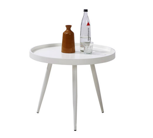 KONFERENČNÍ STOLEK - bílá, Design, kov/kompozitní dřevo (60/50cm) - Carryhome