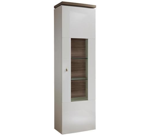 VITRINE Weiß, Eichefarben  - Eichefarben/Weiß, Design, Glas/Holzwerkstoff (60/208/39,7cm) - Stylife
