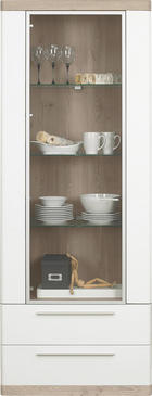 VITRÍNA, barvy dubu, bílá - bílá/černá, Konvenční, kov/dřevěný materiál (75/197/40cm) - Xora