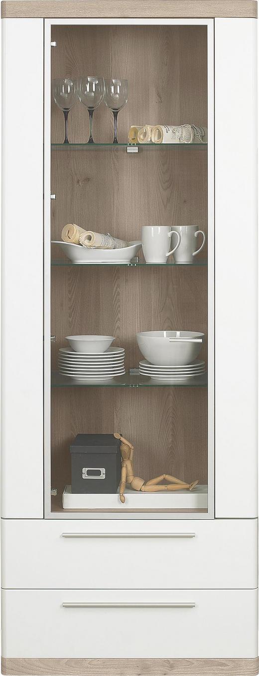 VITRINE Eichefarben, Weiß - Eichefarben/Alufarben, Design, Glas/Kunststoff (75/197/40cm) - Xora