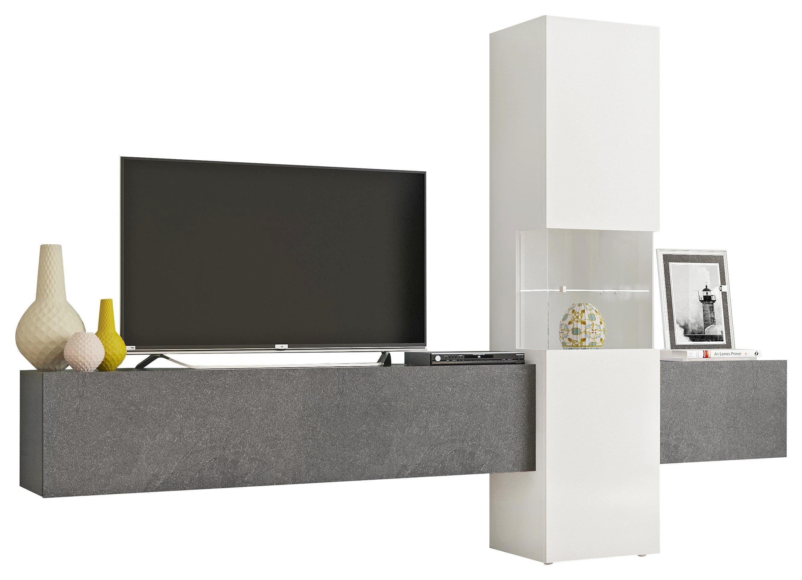 WOHNWAND In Schieferfarben, Weiß   Schieferfarben/Weiß, MODERN,  Glas/Holzwerkstoff (