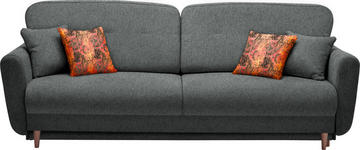 DREISITZER-SOFA Webstoff Anthrazit - Anthrazit/Multicolor, Design, Holz/Textil (235/87/98cm) - Hom`in