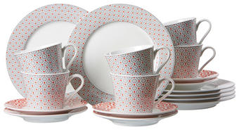 Porzellan  KAFFEESERVICE 18-teilig - Rot/Weiß (29/18/23cm)