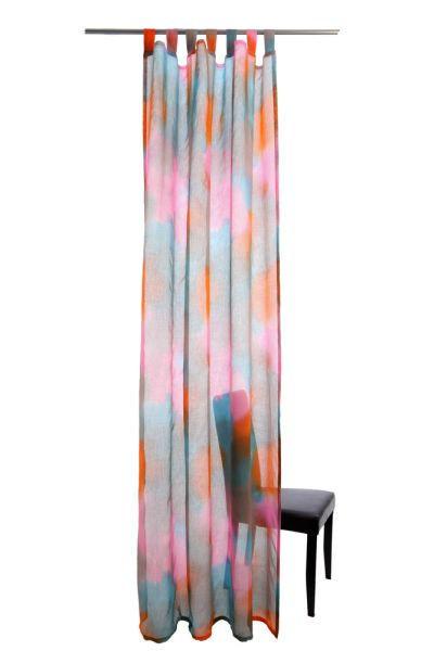 SCHLAUFENSCHAL  transparent  145/255 cm - Türkis/Pink, Design, Textil (145/255cm)