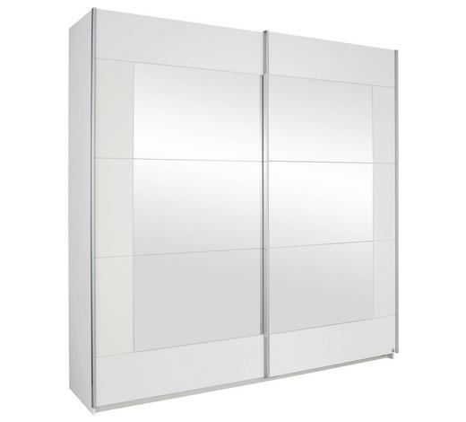SCHWEBETÜRENSCHRANK 2-türig Weiß  - Alufarben/Weiß, Design, Glas/Holzwerkstoff (181/210/62cm) - Livetastic