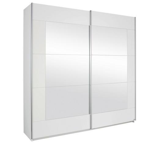 SCHWEBETÜRENSCHRANK 2-türig Weiß  - Alufarben/Weiß, Design, Glas/Holzwerkstoff - Xora