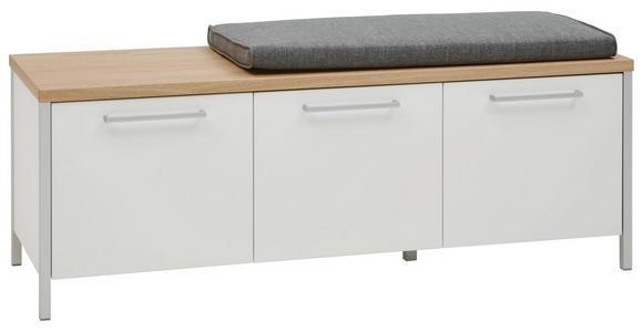 GARDEROBENBANK Eiche furniert Eichefarben, Weiß - Chromfarben/Eichefarben, MODERN, Holz/Metall (126/45/41cm) - Dieter Knoll