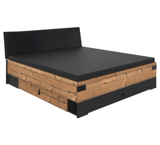 BETT 180/200 cm  in Graphitfarben, Fichtefarben - Fichtefarben/Anthrazit, Trend, Holzwerkstoff/Textil (180/200cm) - Ti`me